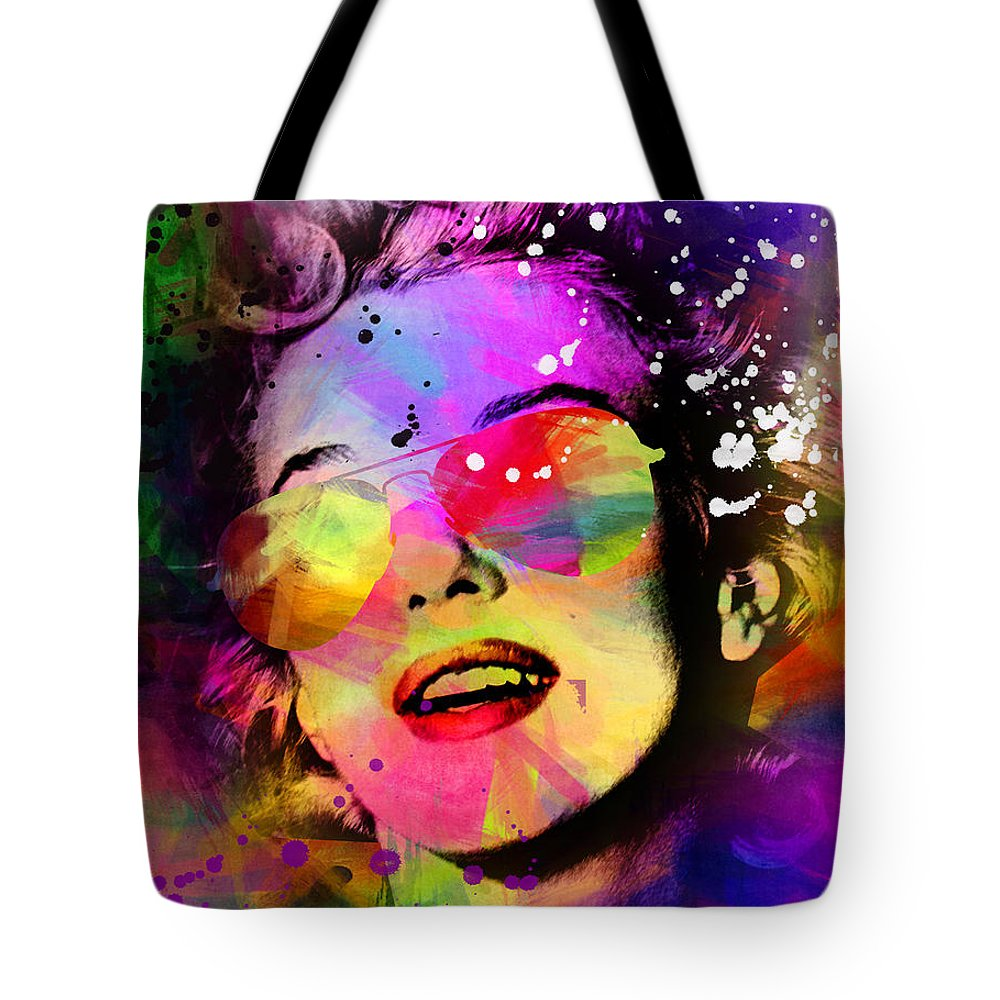 Pop Art Tote Bag featuring the painting Marilyn Monroe by Mark Ashkenazi