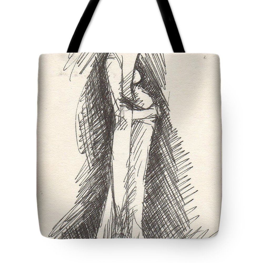 Sketch Tote Bag featuring the drawing Untitled by T Ezell