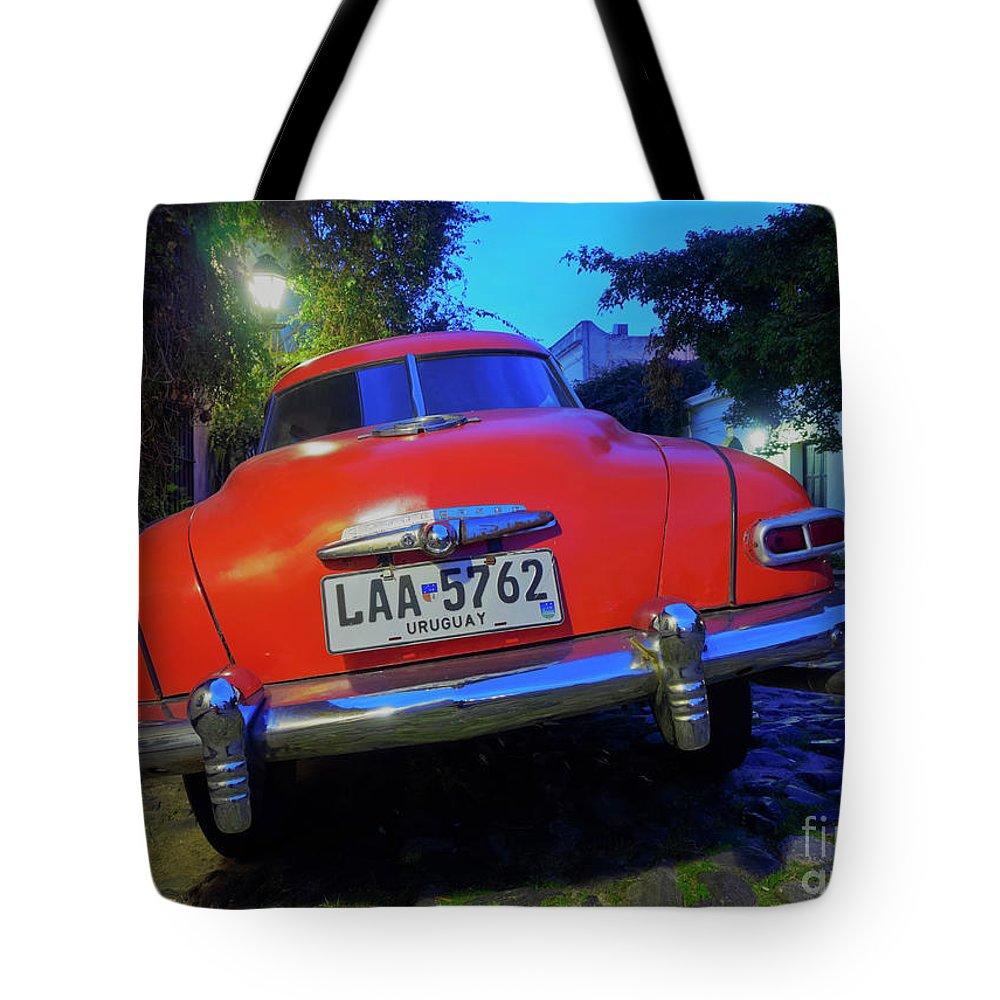 South America Tote Bag featuring the photograph Vintage Car In Colonia Del Sacramento, Uruguay by Karol Kozlowski