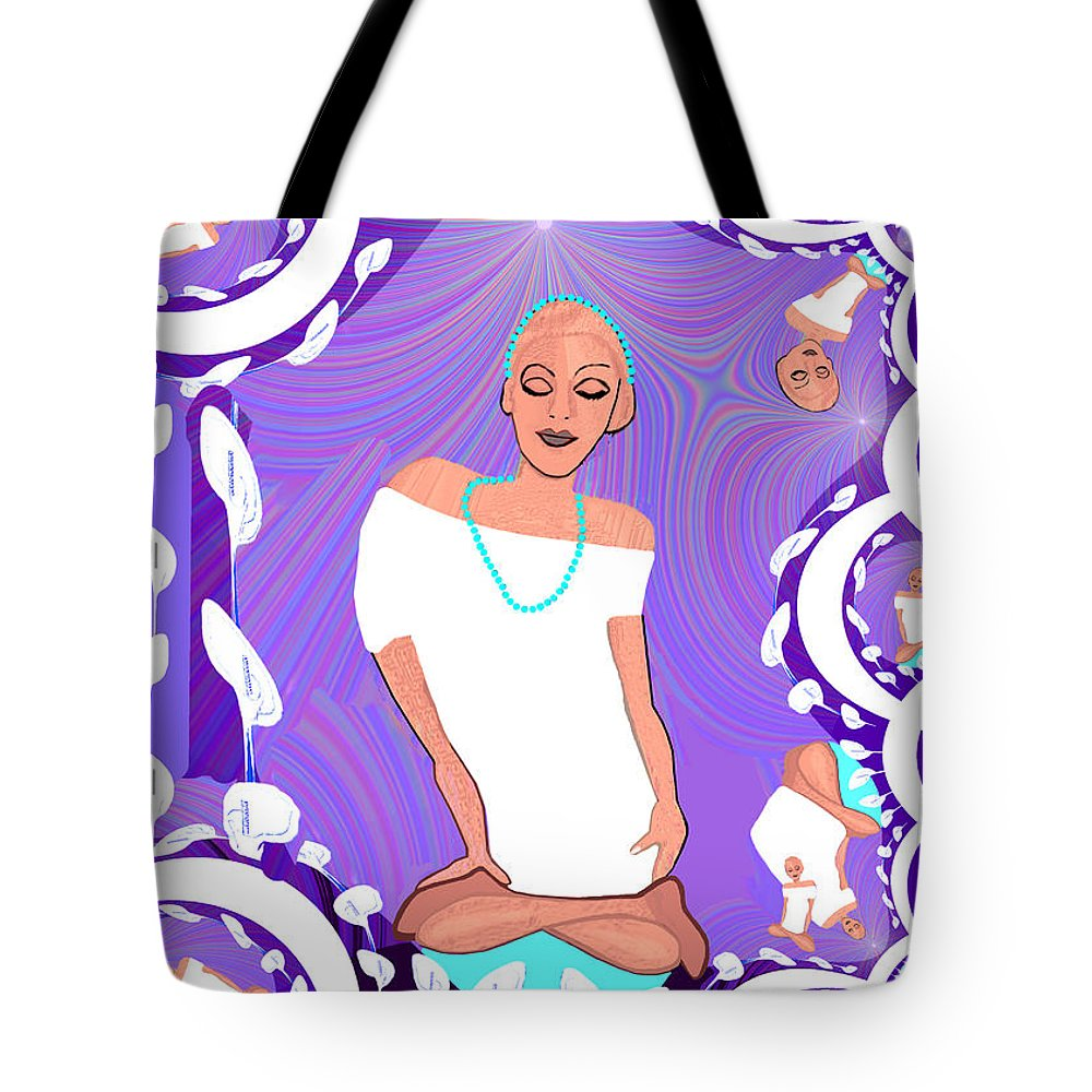 1103 Tote Bag featuring the painting 1103 Yoga Lady Fractal 2017 by Irmgard Schoendorf Welch