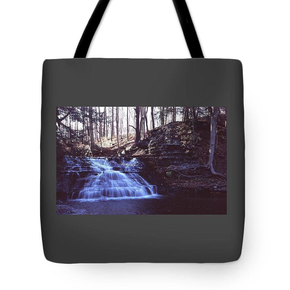 Waterfall Tote Bag featuring the photograph 111401-4 by Mike Davis
