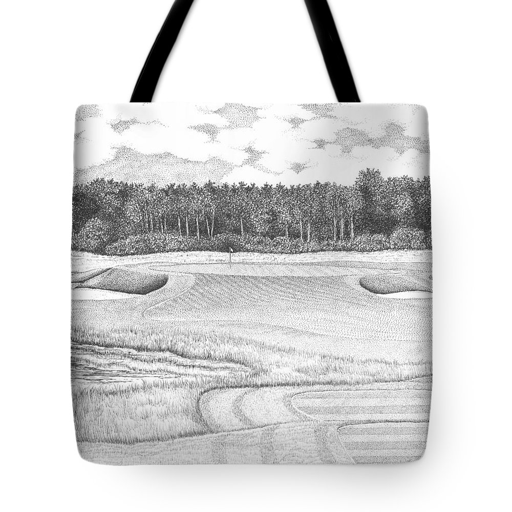 Golf Tote Bag featuring the drawing 11th Hole - Trump National Golf Club by Lawrence Tripoli