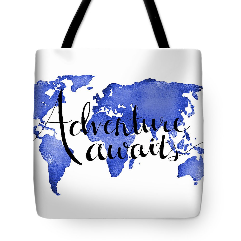 Adventure Awaits Tote Bag featuring the digital art 11x14 Adventure Awaits Blue by Michelle Eshleman