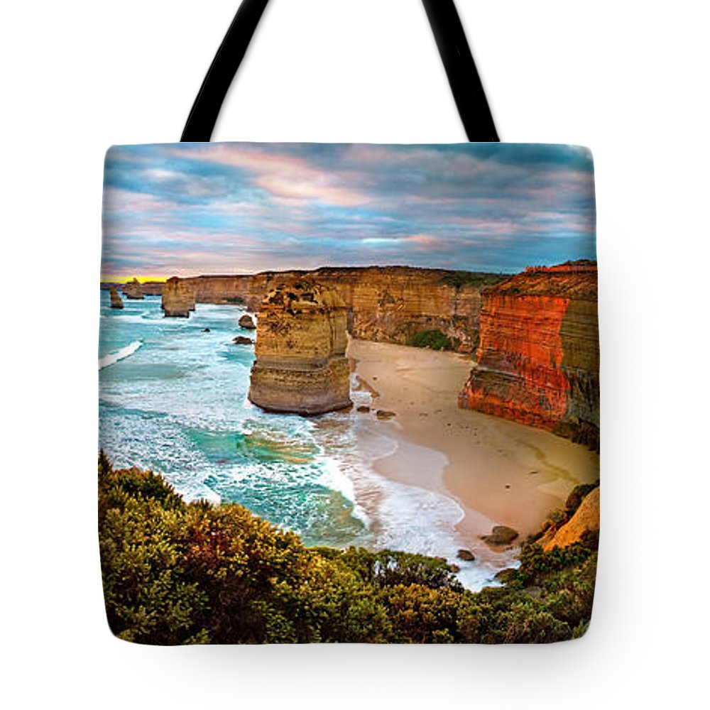 12 Apostles Tote Bag featuring the photograph 12 Apostle Sunset by Az Jackson