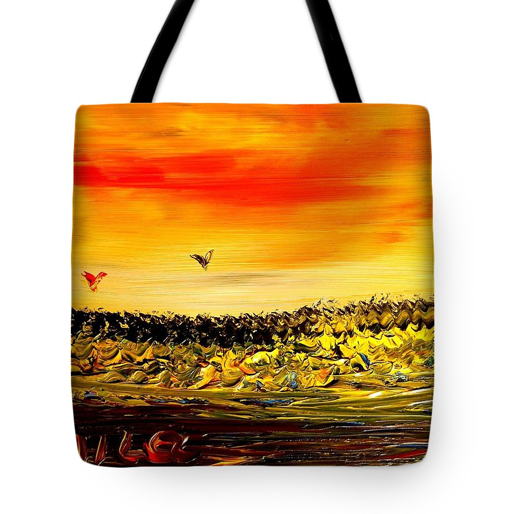 Tote Bag featuring the mixed media Seascape by Mark Kazav