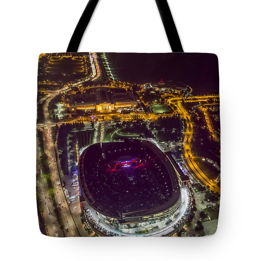 Grateful Dead Tote Bag featuring the photograph The Grateful Dead At Soldier Field Aerial Photo by David Oppenheimer