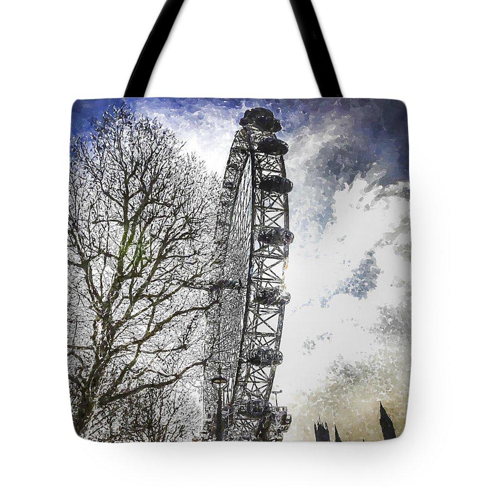 Snow Tote Bag featuring the photograph The London Eye Art by David Pyatt