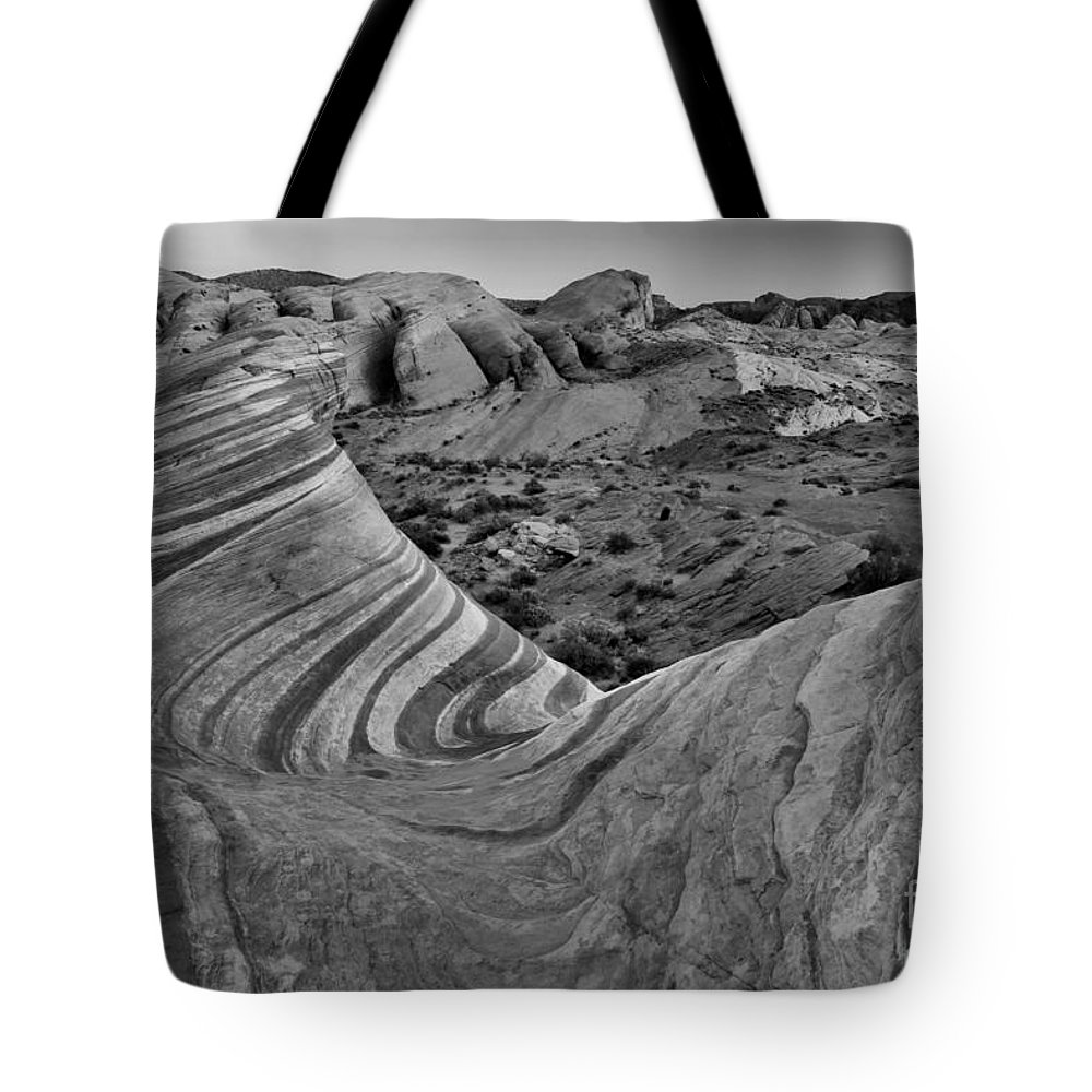 Black And White Tote Bag featuring the photograph Wave In The Desert Black And White by Adam Jewell