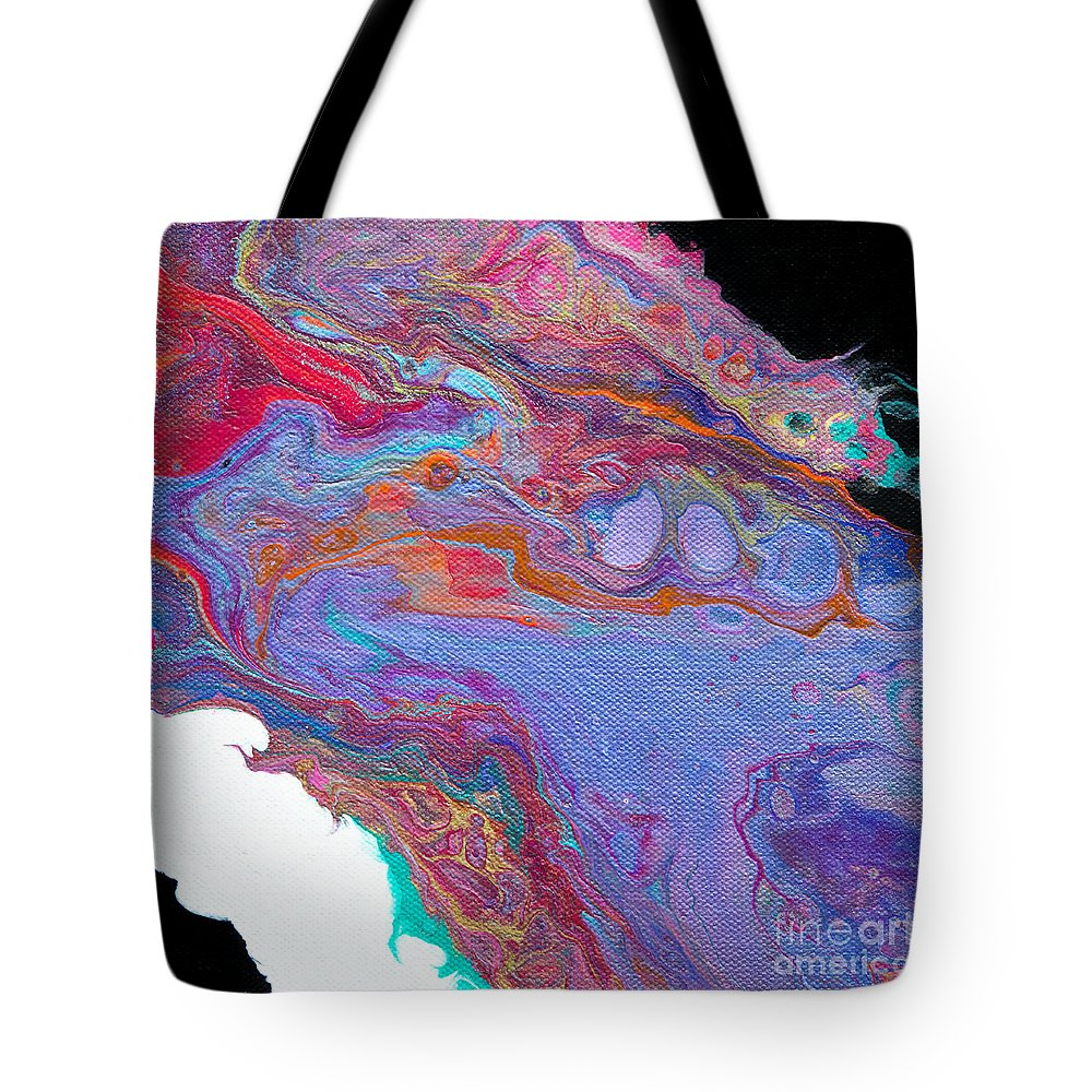 Dynamic Vibrant Charming Colorful Contemporary Abstract Cornflower-blue Black White Pink Red Turquoise Organic Feeling Fluid Original Art Dramatic Tote Bag featuring the painting #1223 by Expressionistart studio Priscilla Batzell