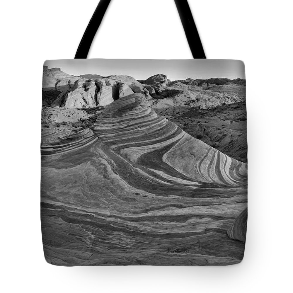 Black And White Tote Bag featuring the photograph Black And White Fire Wave Sunset by Adam Jewell