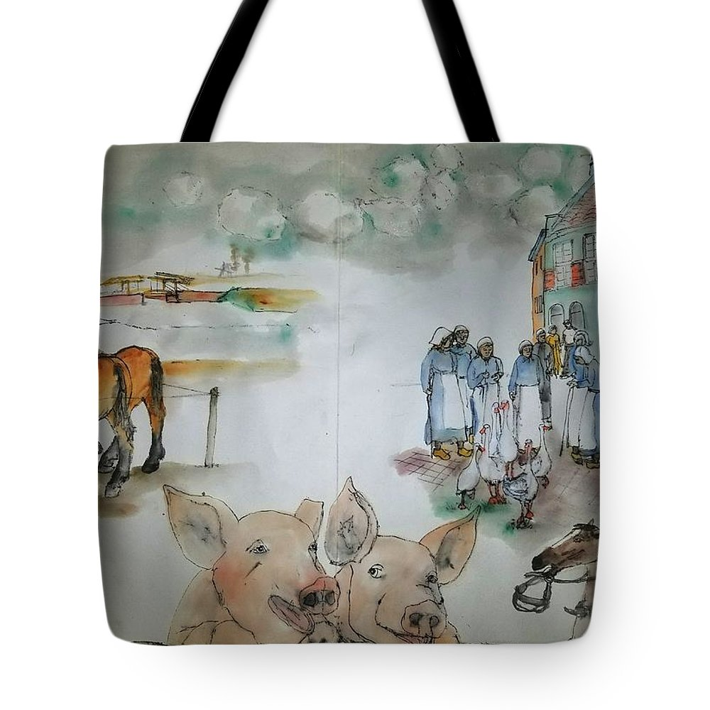 The Netherlands. Market Time Tote Bag featuring the painting Land Of Clogs And Windmill Album by Debbi Saccomanno Chan