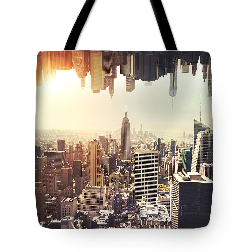 New York Tote Bag featuring the photograph New York Midtown Skyline - Aerial View by Leonardo Patrizi