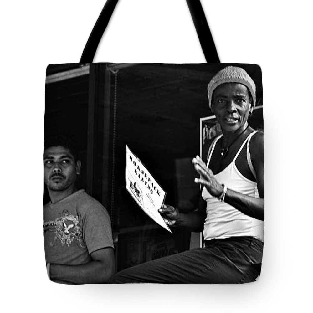 Portrait Tote Bag featuring the photograph Roatan Life by Gianni Bussu
