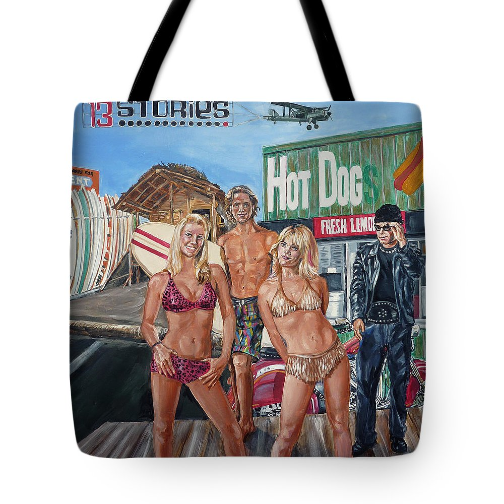 Band Tote Bag featuring the painting 13 Stories by Bryan Bustard