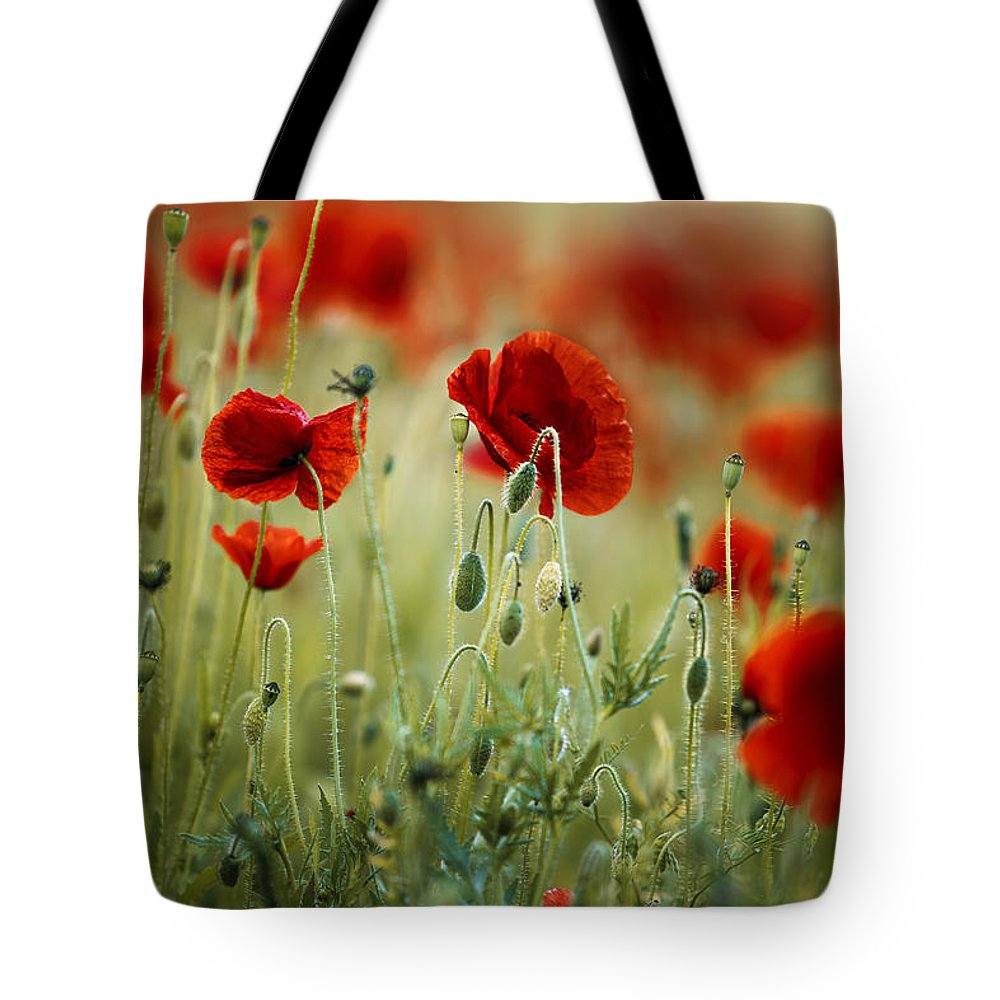 Poppy Tote Bag featuring the photograph Summer Poppy Meadow 13 by Nailia Schwarz