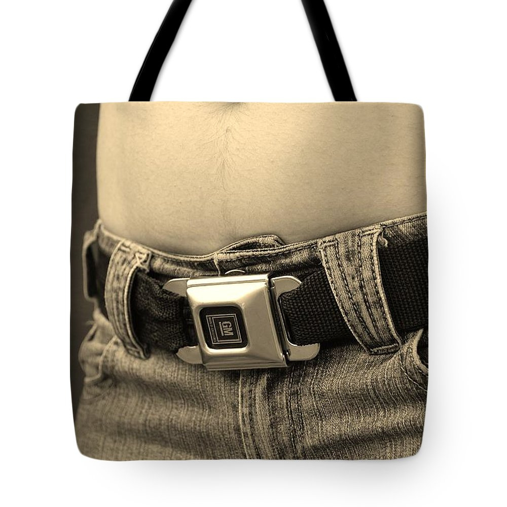 Black And White Tote Bag featuring the photograph The G M Belt by Rob Hans