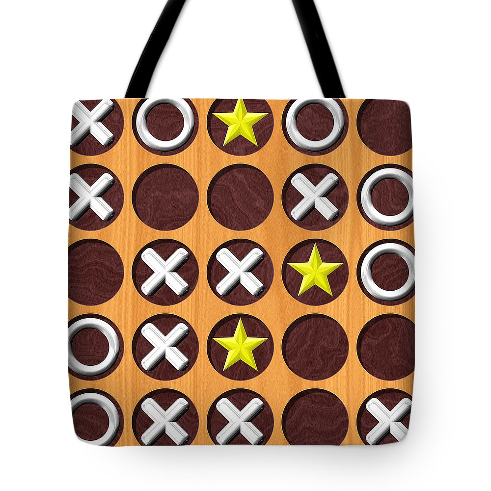 Tic Tote Bag featuring the digital art Tic Tac Toe Wooden Board Generated Seamless Texture by Miroslav Nemecek
