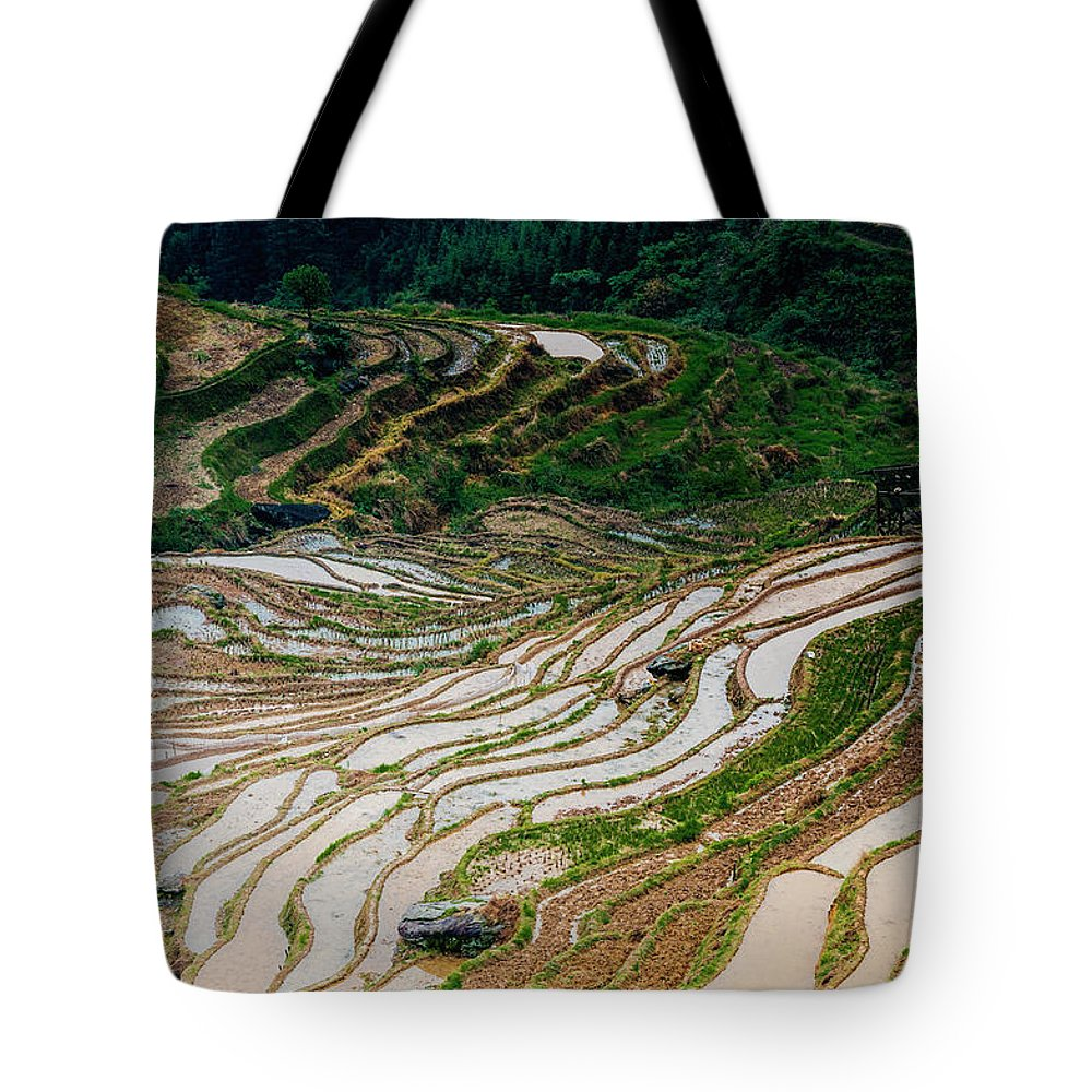 Terrace Tote Bag featuring the photograph Longji Terraced Fields Scenery by Carl Ning