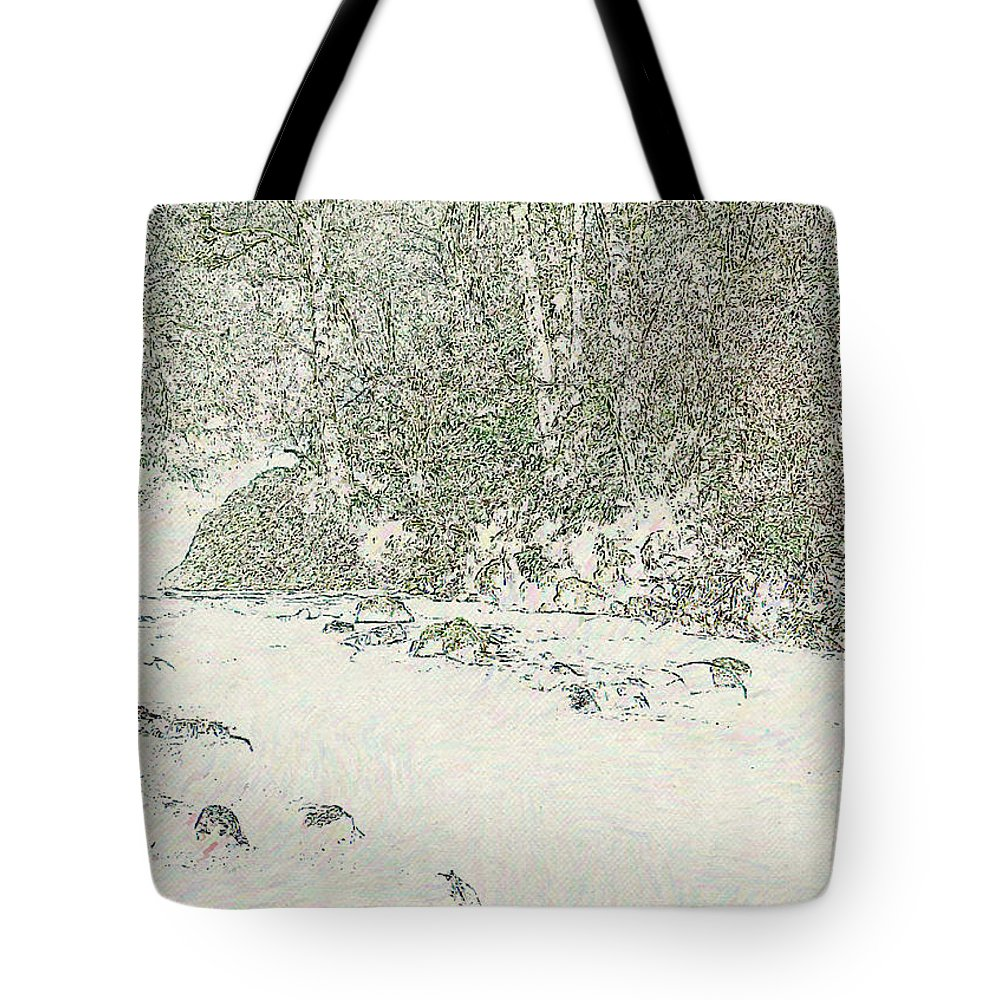 River Tote Bag featuring the digital art River by Lora Battle