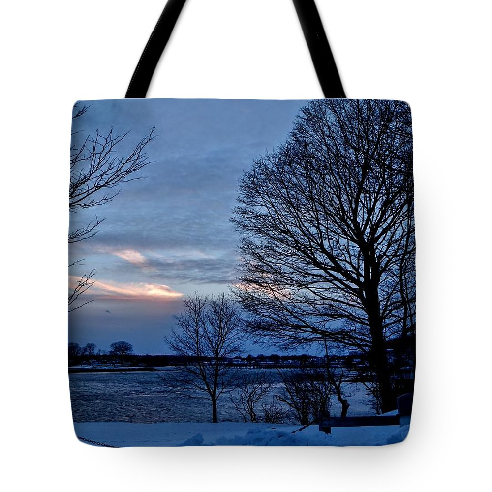 Sunset Tote Bag featuring the photograph Sunset Over Obear Park In Snow by Scott Hufford