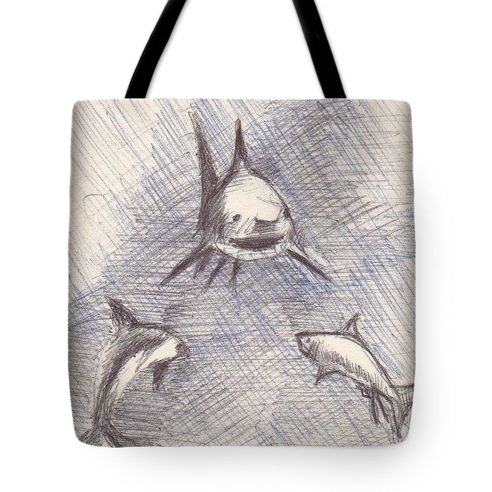Shark Tote Bag featuring the drawing Untitled by T Ezell