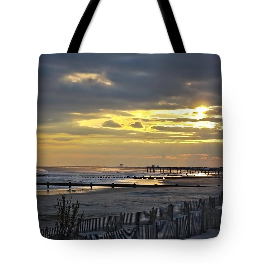 Ocean City Tote Bag featuring the photograph 14th Street Fishing Pier Bright by Kevin Sherf