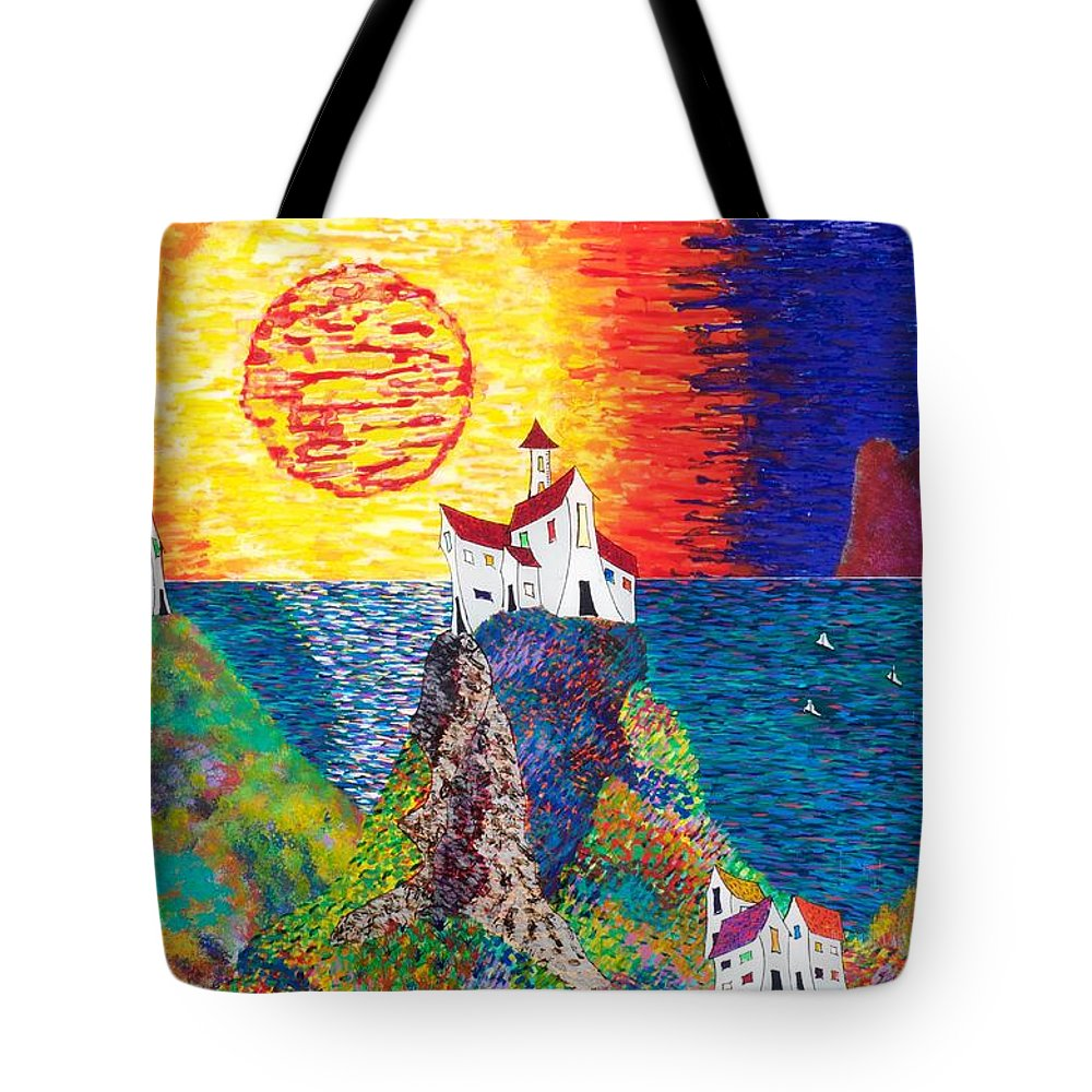 Abstract Tote Bag featuring the painting 15-23 Village Paradise by Patrick OLeary