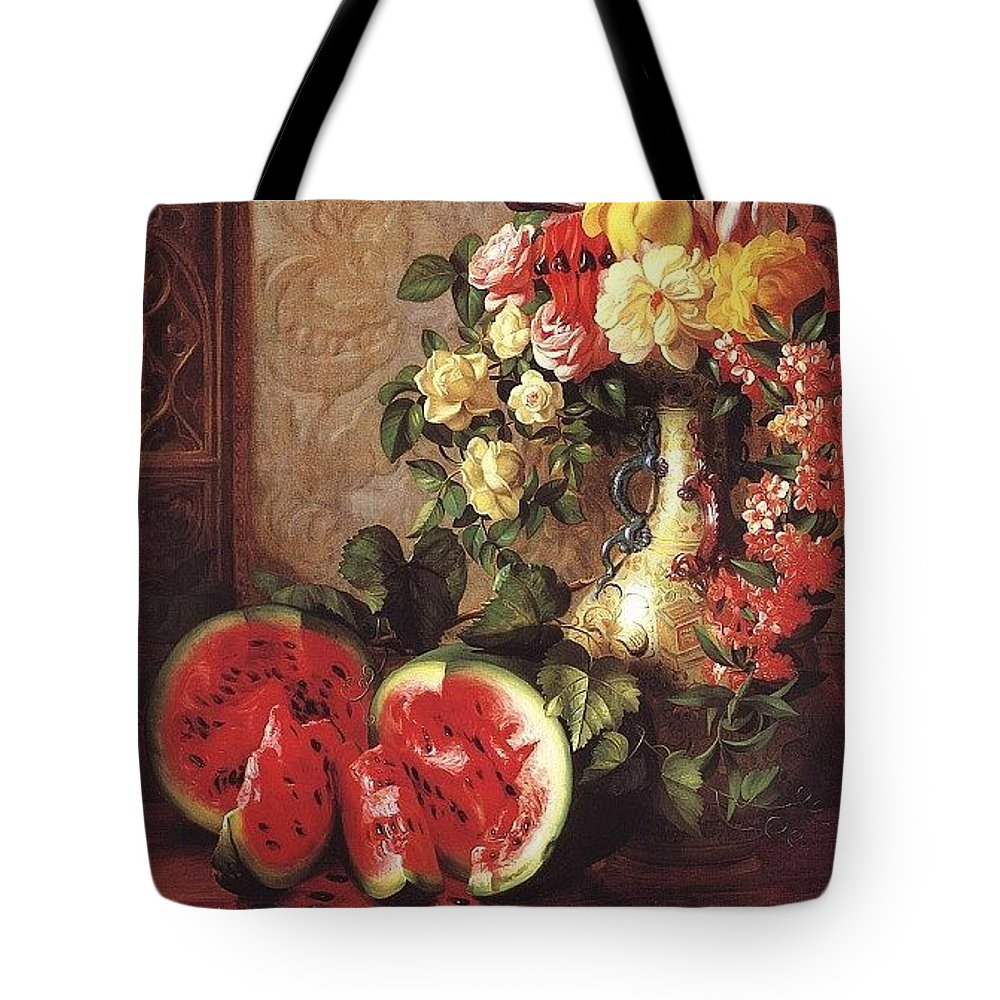 Vase Tote Bag featuring the digital art bs- George Henry Hall- Still Life George Henry Hall by Eloisa Mannion