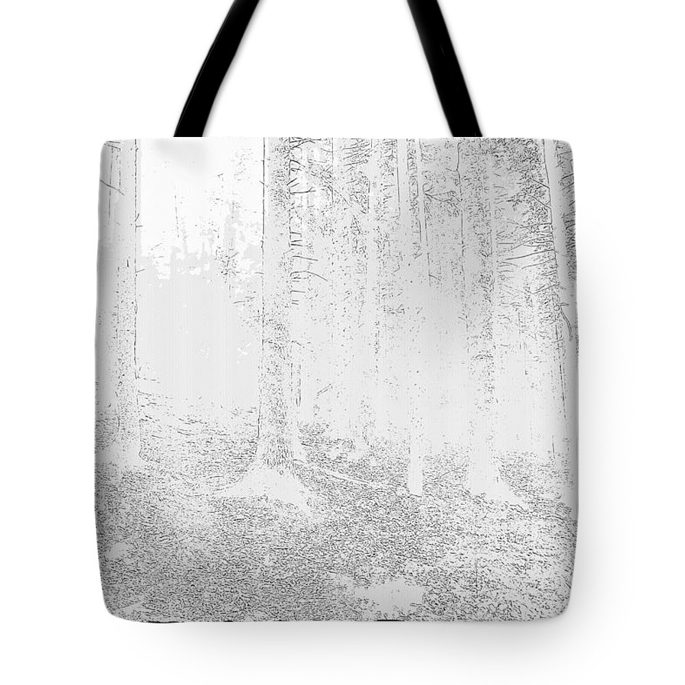 Forest Tote Bag featuring the digital art Forest by Lora Battle