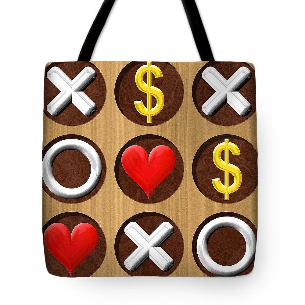 Tic Tote Bag featuring the digital art Tic Tac Toe Wooden Board Generated Seamless Texture by Miroslav Nemecek