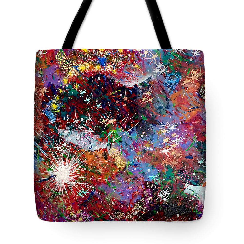Abstract Tote Bag featuring the painting 16-2 Yellow Space by Patrick OLeary