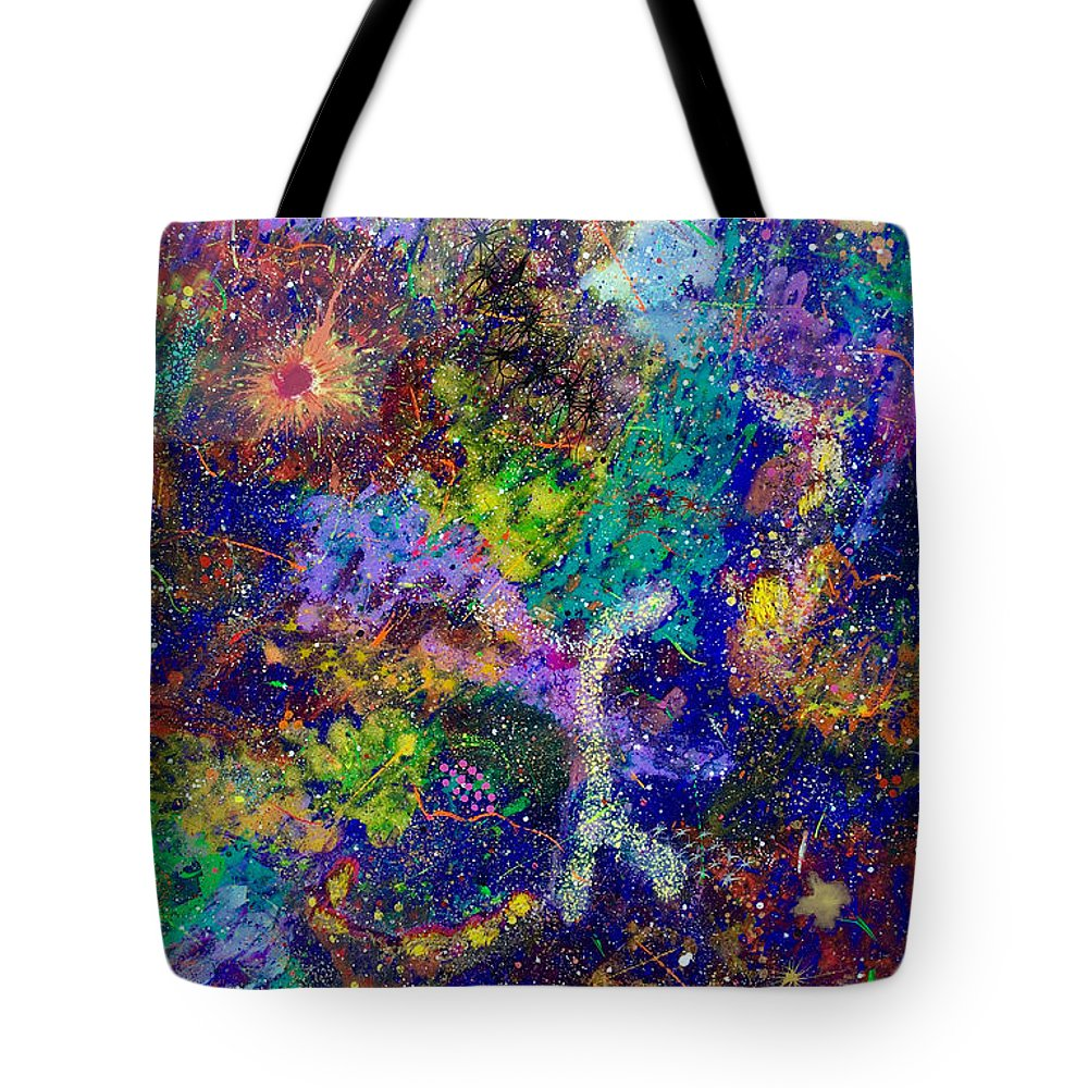 Abstract Tote Bag featuring the painting 16-6 Lambda Sky by Patrick OLeary