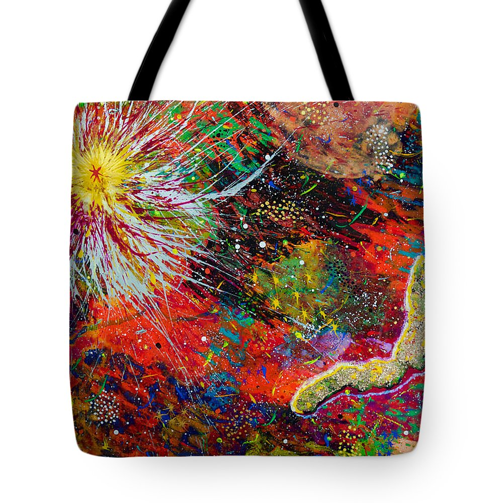 Abstract Tote Bag featuring the painting 16-9 Red Star Burst by Patrick OLeary