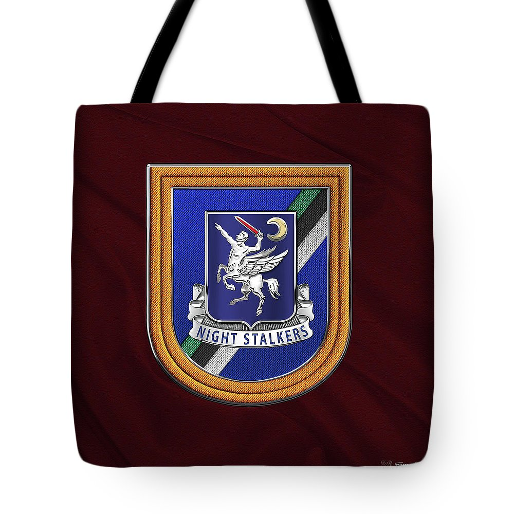 'special Operations' Collection By Serge Averbukh Tote Bag featuring the digital art 160th Special Operations Aviation Regiment - 160th S O A R Crest Over Beret Flash On Maroon by Serge Averbukh