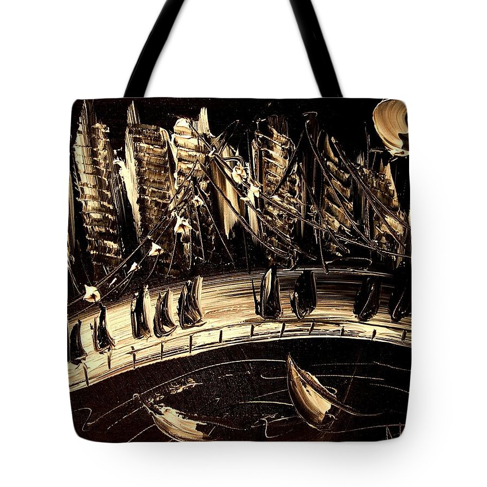 Impressionist Framed Prints Tote Bag featuring the mixed media Jazz by Mark Kazav