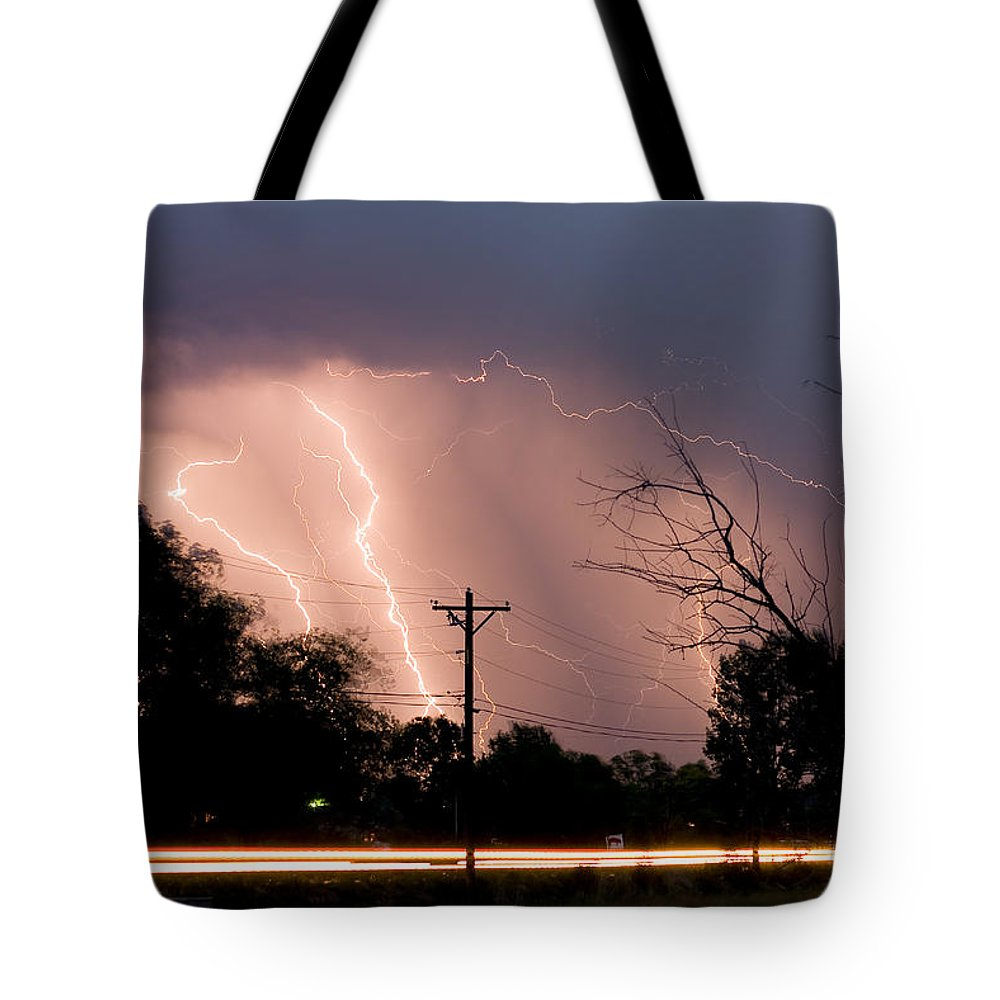 Lightning Tote Bag featuring the photograph Streak On 17th Street by James BO Insogna