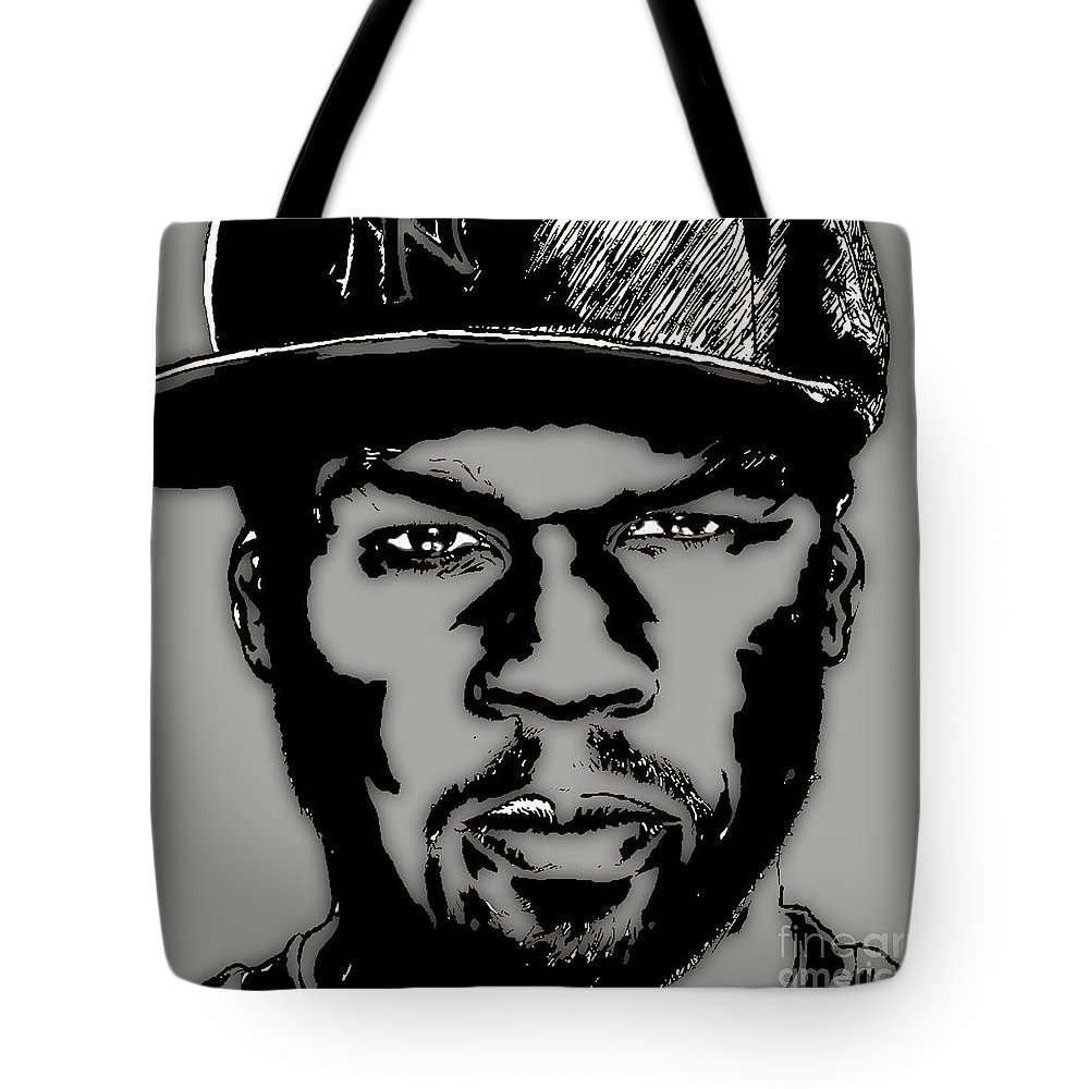 Rap Tote Bag featuring the mixed media 50 Cent Collection by Marvin Blaine