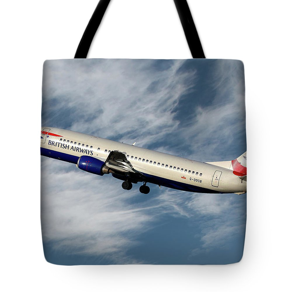 British Airways Tote Bag featuring the photograph British Airways Boeing 737-400 by Smart Aviation