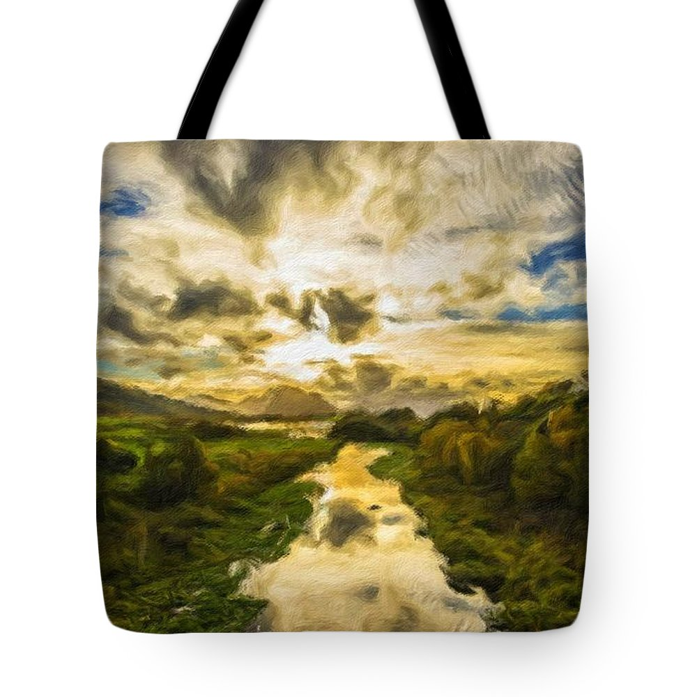 New Tote Bag featuring the digital art Landscape Color by Malinda Spaulding