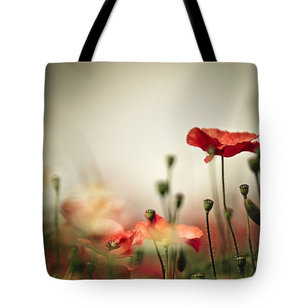 Poppy Tote Bag featuring the photograph Poppy Meadow by Nailia Schwarz