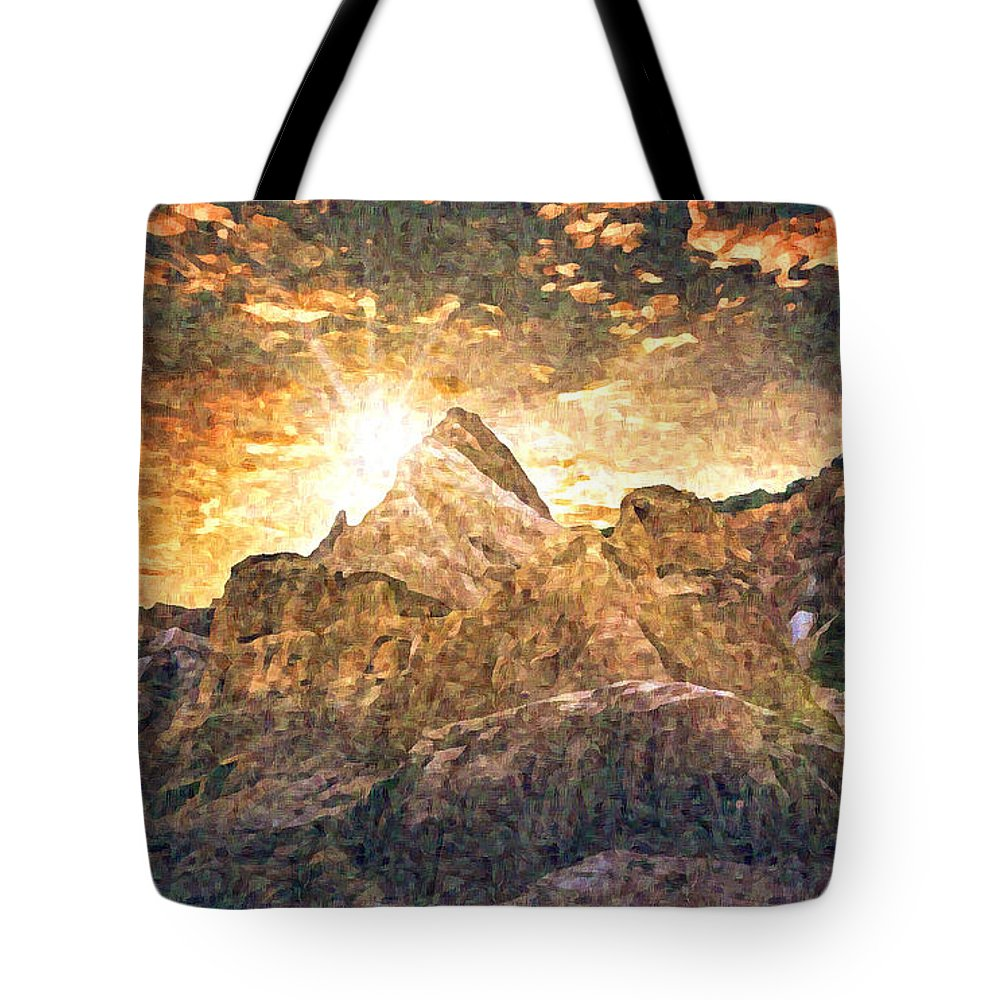 Sunset Tote Bag featuring the digital art Sunset by Lora Battle