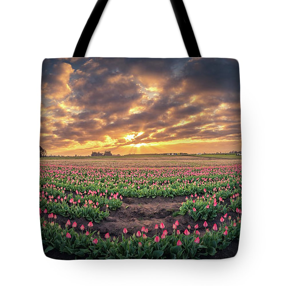 Travel Tote Bag featuring the photograph 180 Degree View Of Sunrise Over Tulip Field by William Freebilly photography