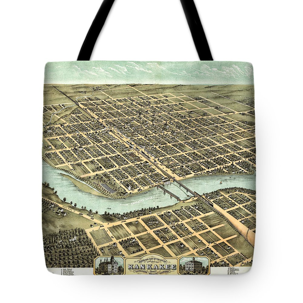 Kankakee Tote Bag featuring the photograph 1869 Map Of Kankakee by Stephen Stookey
