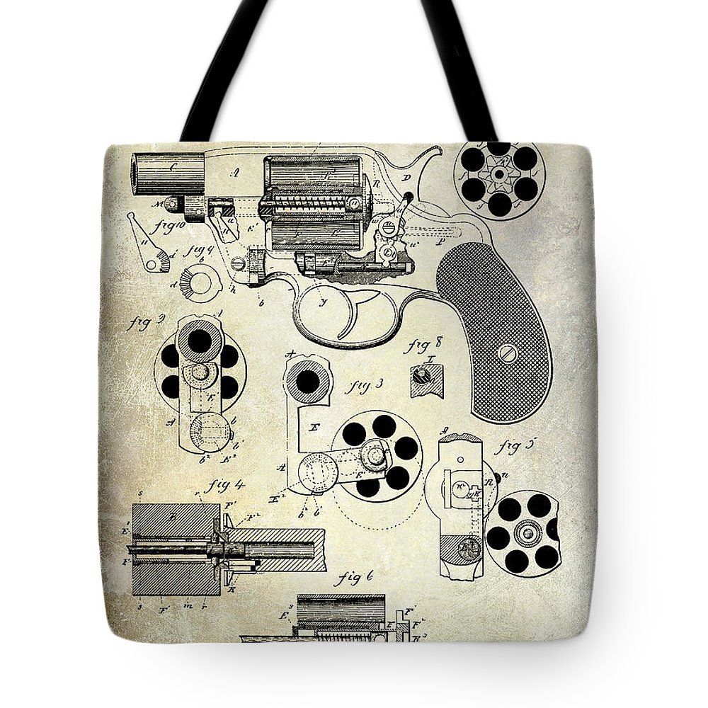 Revolver Patent Tote Bag featuring the photograph 1881 Revolver Patent by Jon Neidert