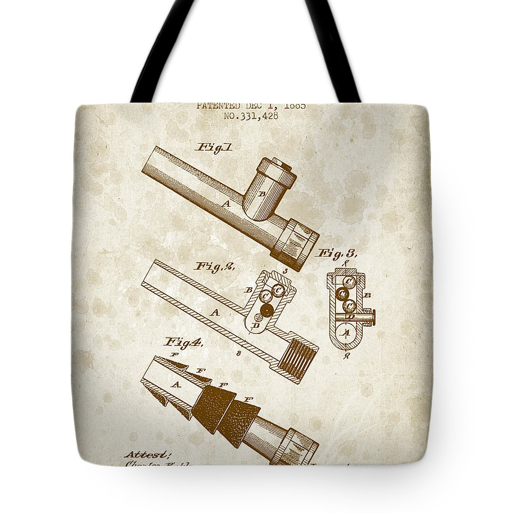 Patent Tote Bag featuring the digital art 1885 Fire Escape Patent - Vintage Brown by Aged Pixel