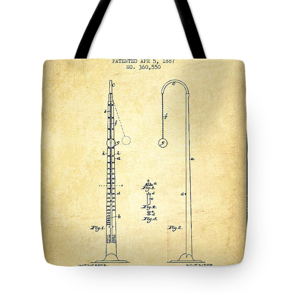 Metronome Tote Bag featuring the digital art 1887 Metronome Patent - Vintage by Aged Pixel