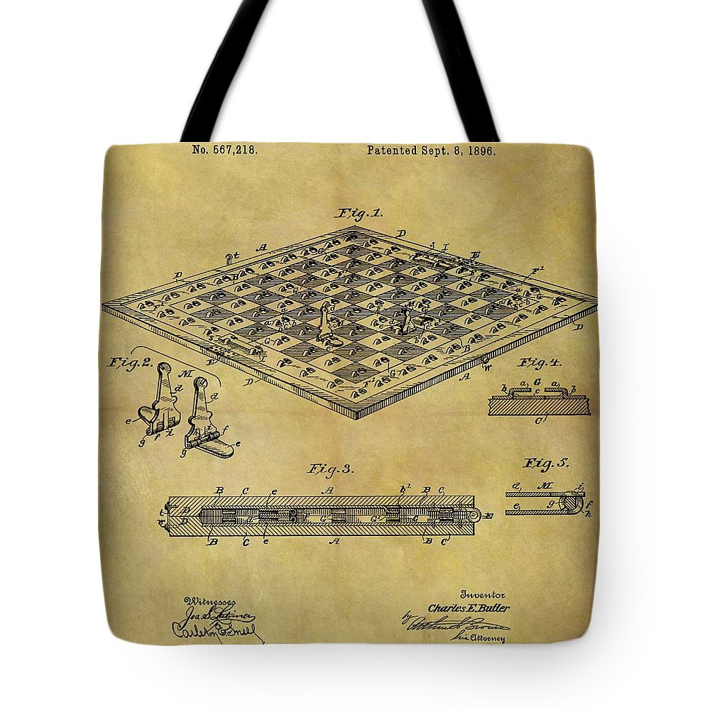 1896 Chess Set Patent Tote Bag featuring the drawing 1896 Chess Set Patent by Dan Sproul