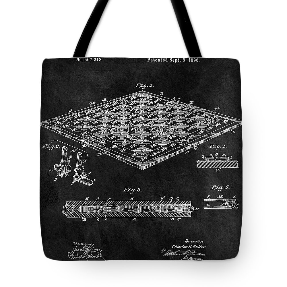 1896 Chess Set Patent Tote Bag featuring the mixed media 1896 Chessboard Patent by Dan Sproul