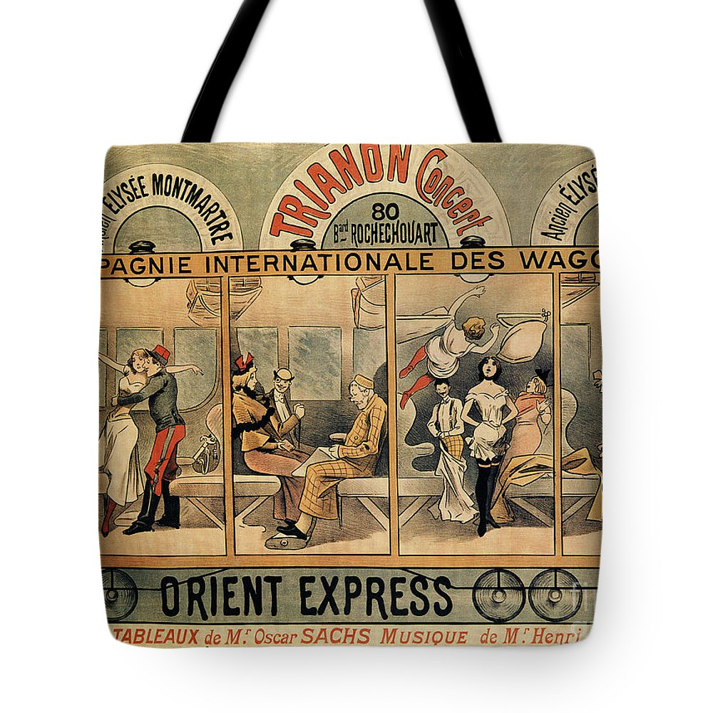 Musical Tote Bag featuring the drawing 1896 Orient Express Musical Revue Paris by Aapshop