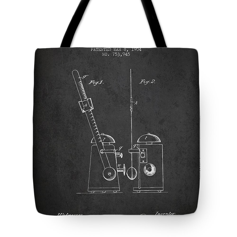 Metronome Tote Bag featuring the digital art 1904 Metronome Patent - Charcoal by Aged Pixel